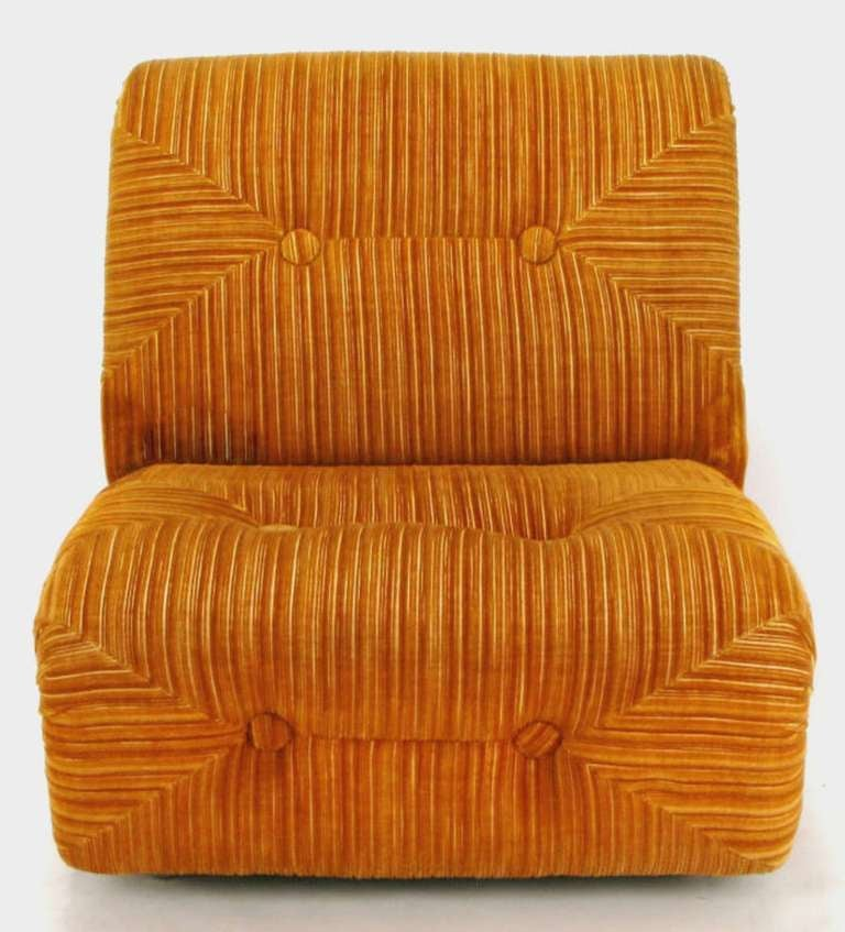 Art Deco Revival Club Chair In Orange Striped Cut Velvet For Sale 2