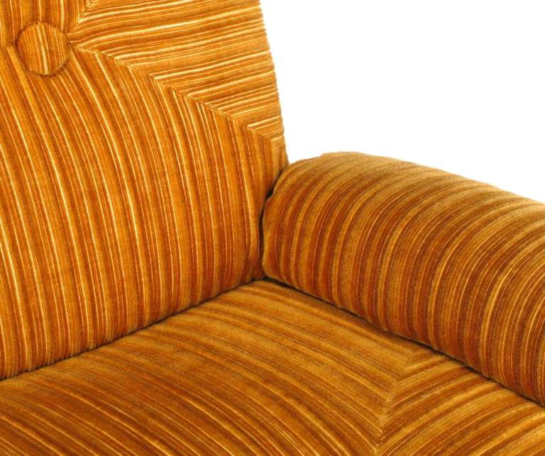 Late 20th Century Art Deco Revival Club Chair In Orange Striped Cut Velvet For Sale