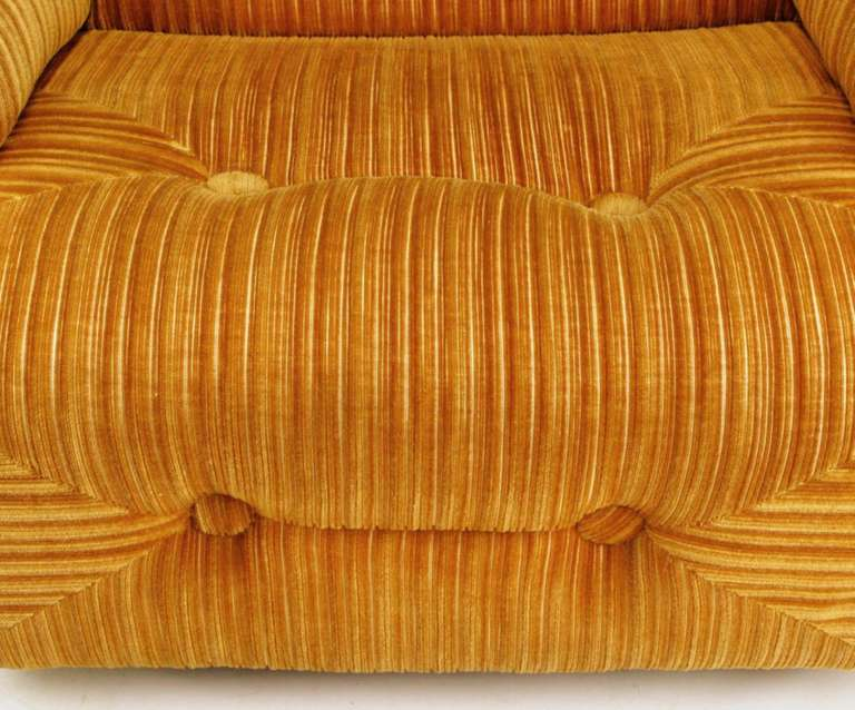Wood Art Deco Revival Club Chair In Orange Striped Cut Velvet For Sale