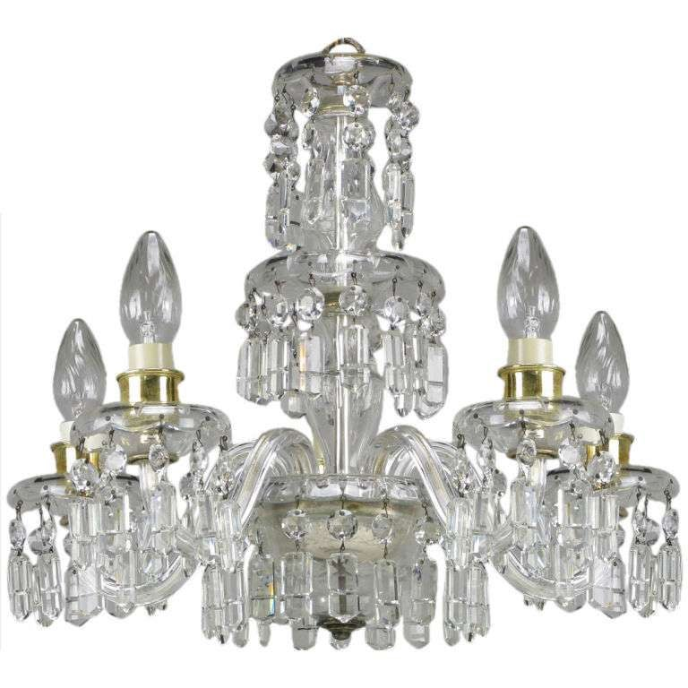 Lightolier Cut-Crystal Five-Arm Chandelier, circa 1940s In Good Condition For Sale In Chicago, IL