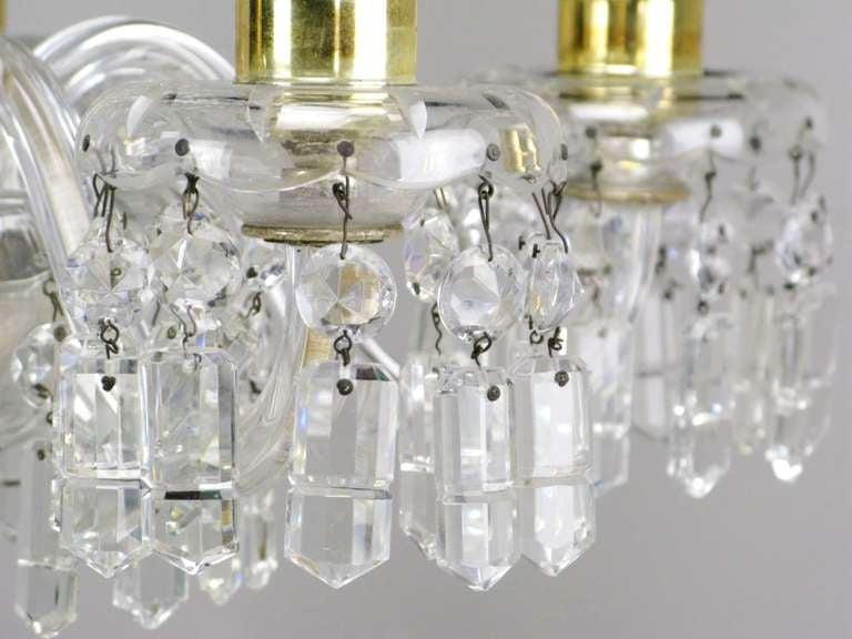 Cut Glass Lightolier Cut-Crystal Five-Arm Chandelier, circa 1940s For Sale