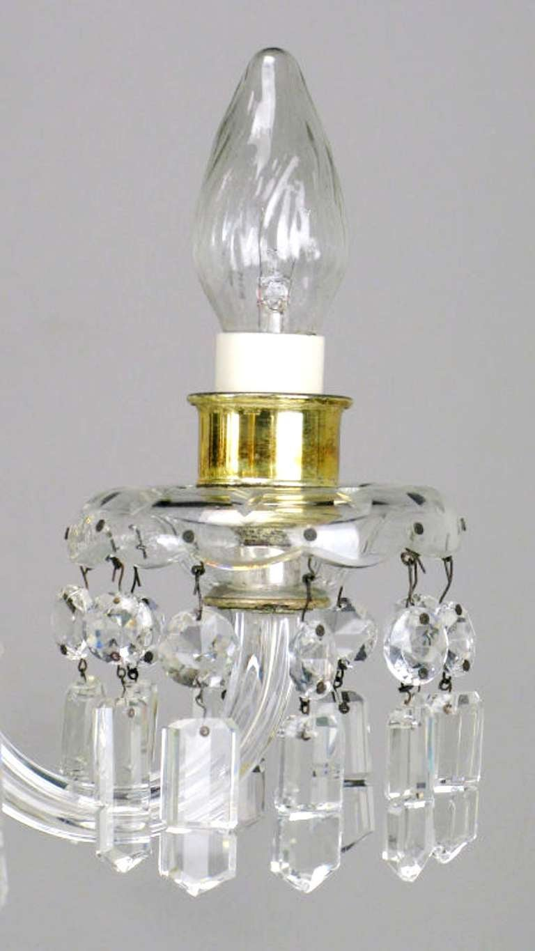 Mid-20th Century Lightolier Cut-Crystal Five-Arm Chandelier, circa 1940s For Sale
