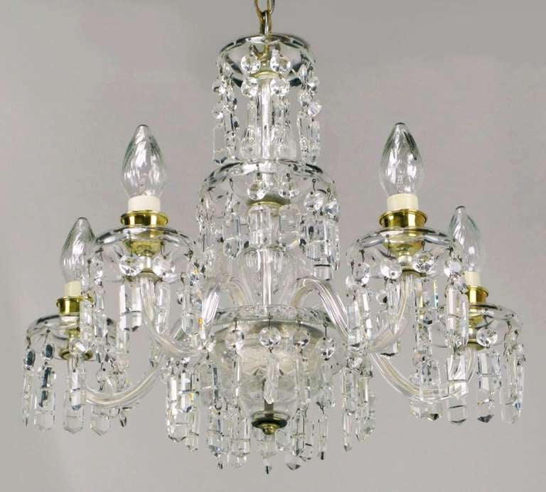 American Lightolier Cut-Crystal Five-Arm Chandelier, circa 1940s For Sale