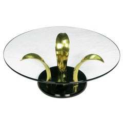 Black Lacquer and Brass Palm Leaf Cocktail Table