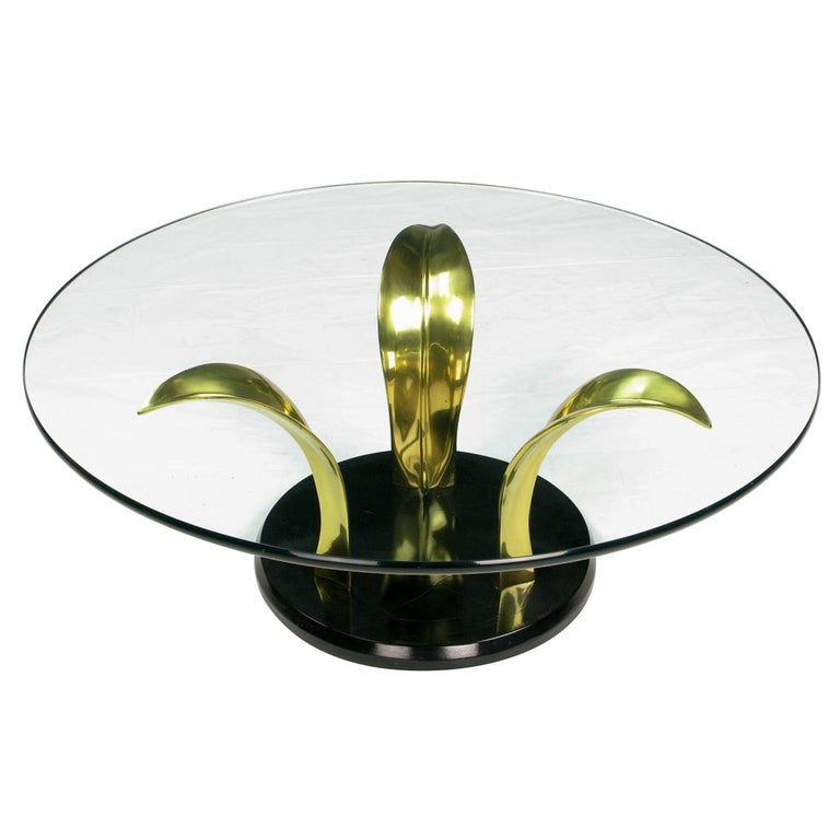 Black Lacquer and Brass Palm Leaf Cocktail Table For Sale