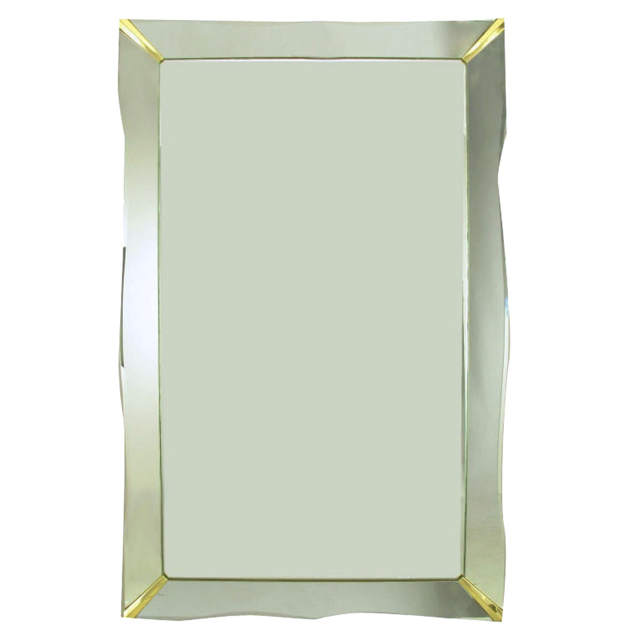 1940s Era Art Deco Scalloped Edge Mirror Framed Mirror