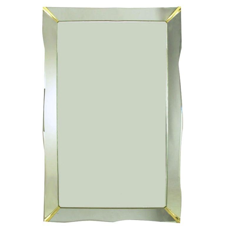 1940s Era Art Deco Scalloped Edge Mirror Framed Mirror For Sale