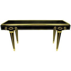Mastercraft Black Lacquer and Brass Empire Moderne Console Table