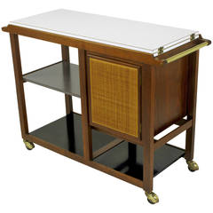 Edward Wormley Walnut, Micarta and Cane Flip-Top Bar Cart for Dunbar