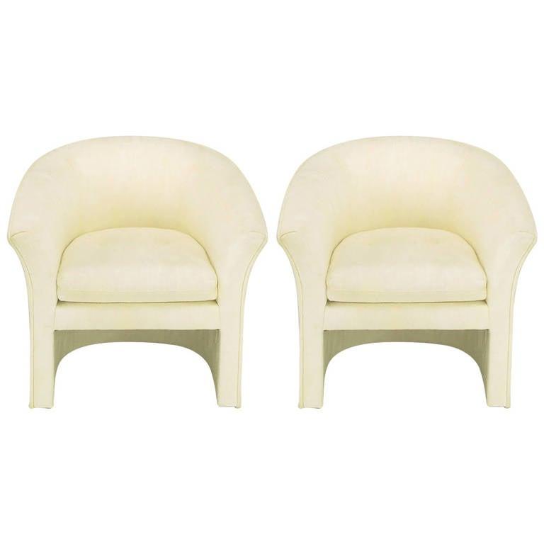 Pair of Hekman Art Deco Revival Barrel Chairs in Creamy Silk