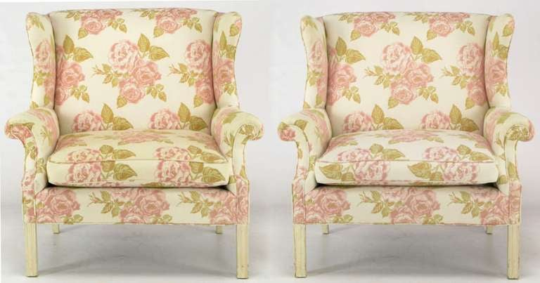 Extra Wide Pair Of Beautifully Designed Wing Chairs In A Cabbage Rose  Patterned Silk/linen
