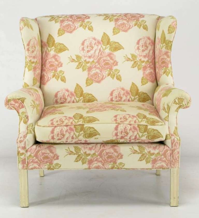 Mid-20th Century Pair of Overscale Chippendale Wing Chairs in Rose Pattern Fabric For Sale