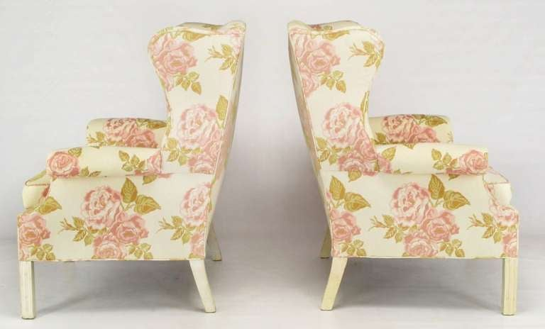 American Pair of Overscale Chippendale Wing Chairs in Rose Pattern Fabric For Sale
