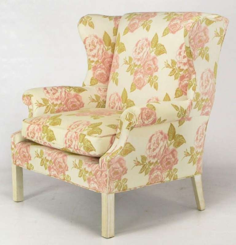 Linen Pair of Overscale Chippendale Wing Chairs in Rose Pattern Fabric For Sale