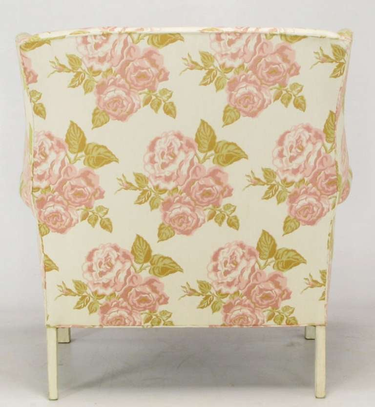 Pair of Overscale Chippendale Wing Chairs in Rose Pattern Fabric For Sale 1