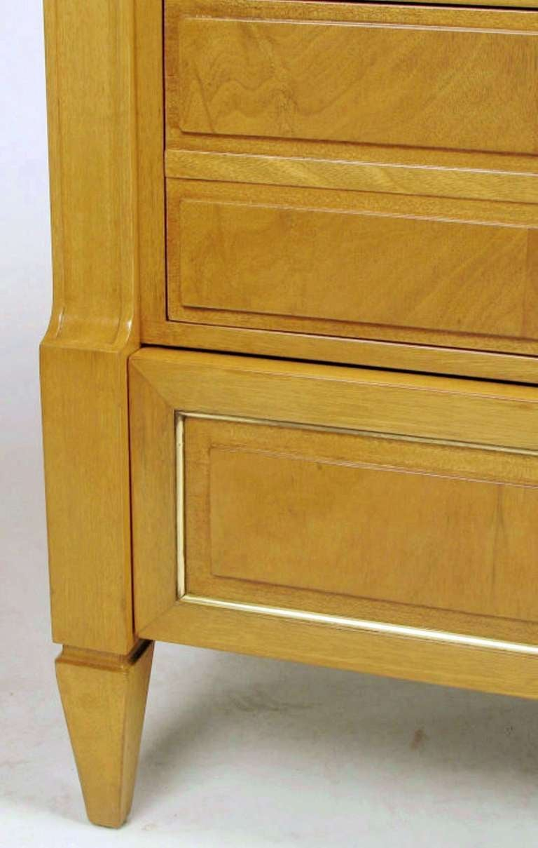 Grosfeld House Empire Bleached Walnut and Brass Dresser For Sale 4