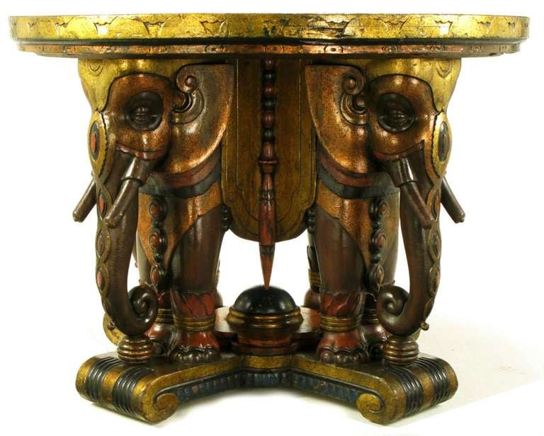 American Extraordinary 1920s Polychrome Parcel-Gilt Elephant Centre Table For Sale