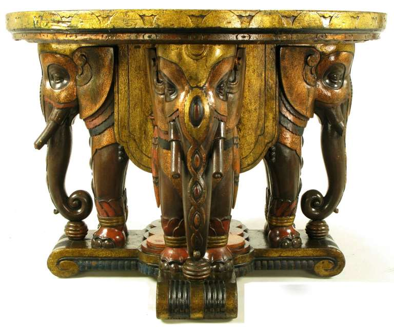 Extraordinary 1920s Polychrome Parcel-Gilt Elephant Centre Table In Good Condition For Sale In Chicago, IL