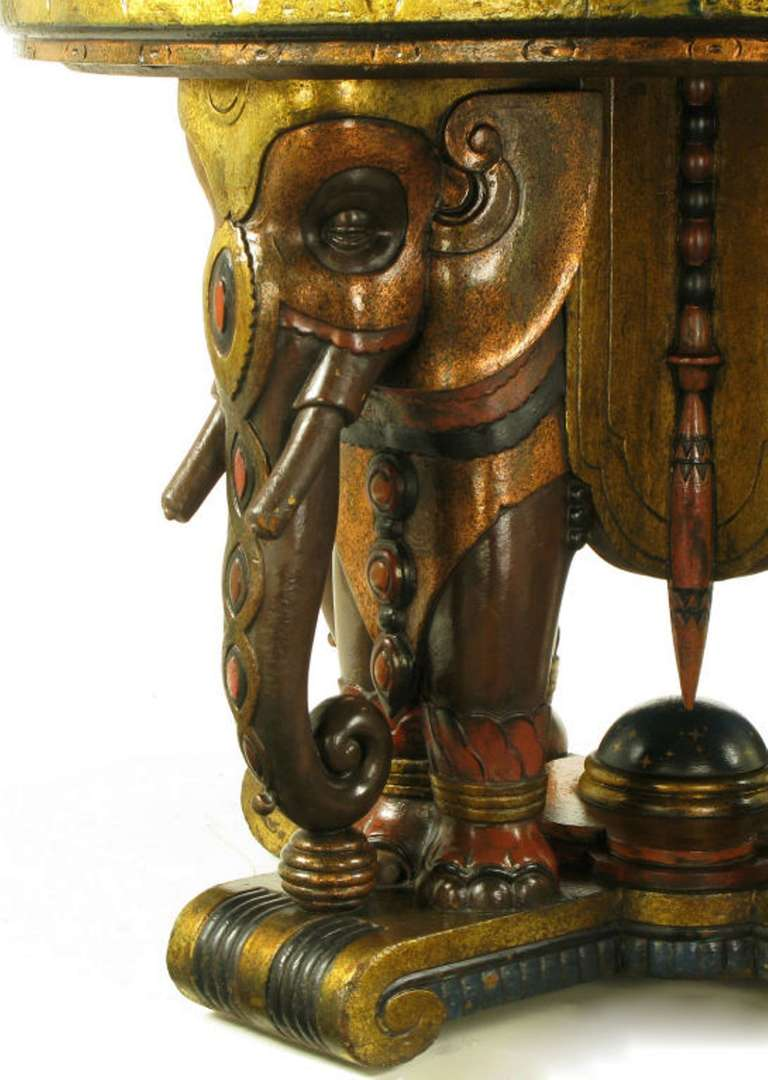 Wood Extraordinary 1920s Polychrome Parcel-Gilt Elephant Centre Table For Sale