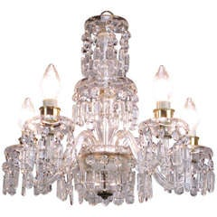 Lightolier Cut-Crystal Five-Arm Chandelier, circa 1940s