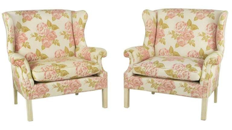 Pair of Overscale Chippendale Wing Chairs in Rose Pattern Fabric In Excellent Condition For Sale In Chicago, IL