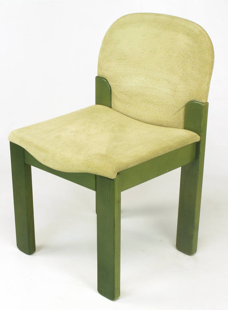 saporiti dining chairs in dyed green oak and suede for sale at 1stdibs
