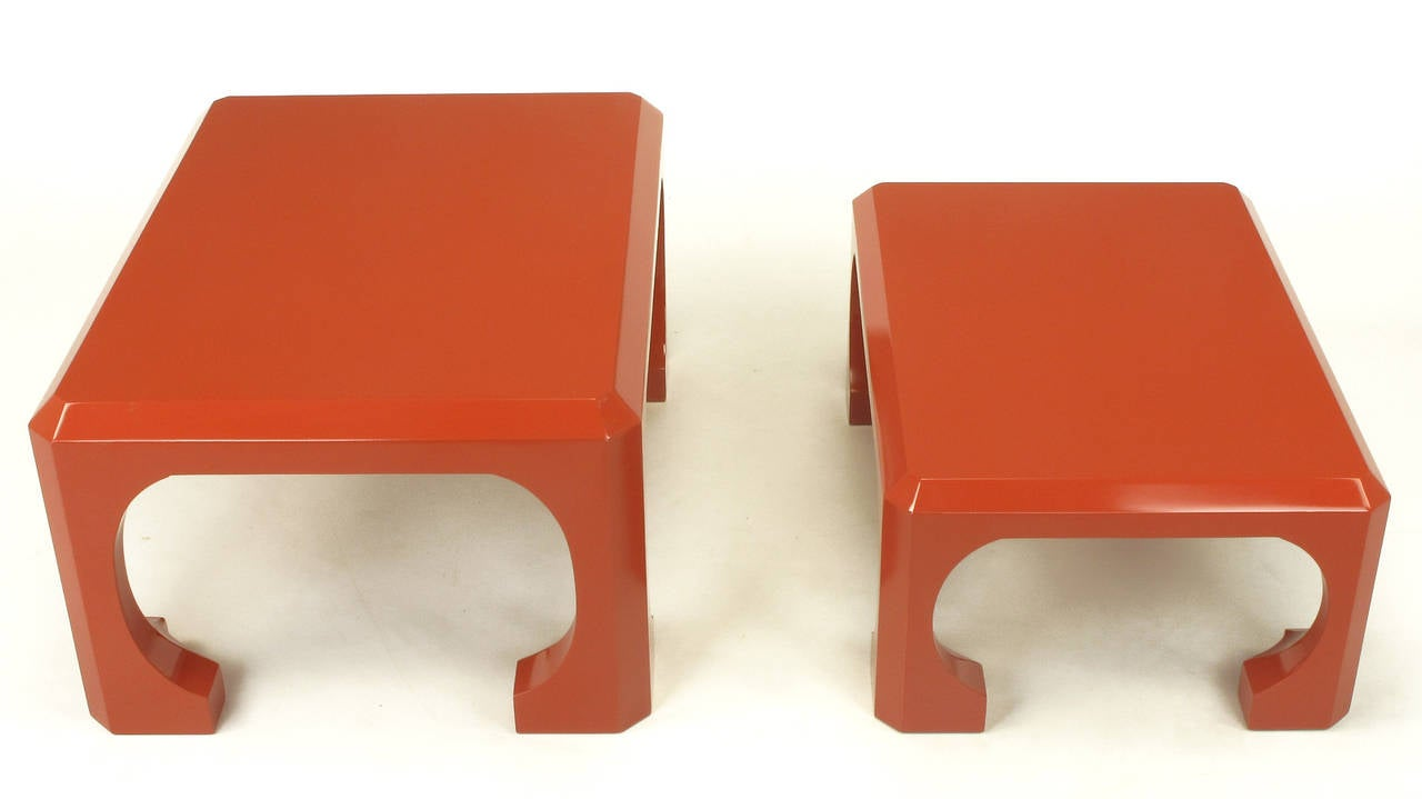 Gesso Pair of Bert England for Baker Cinnabar Red Asian Modern Stacking Tables For Sale