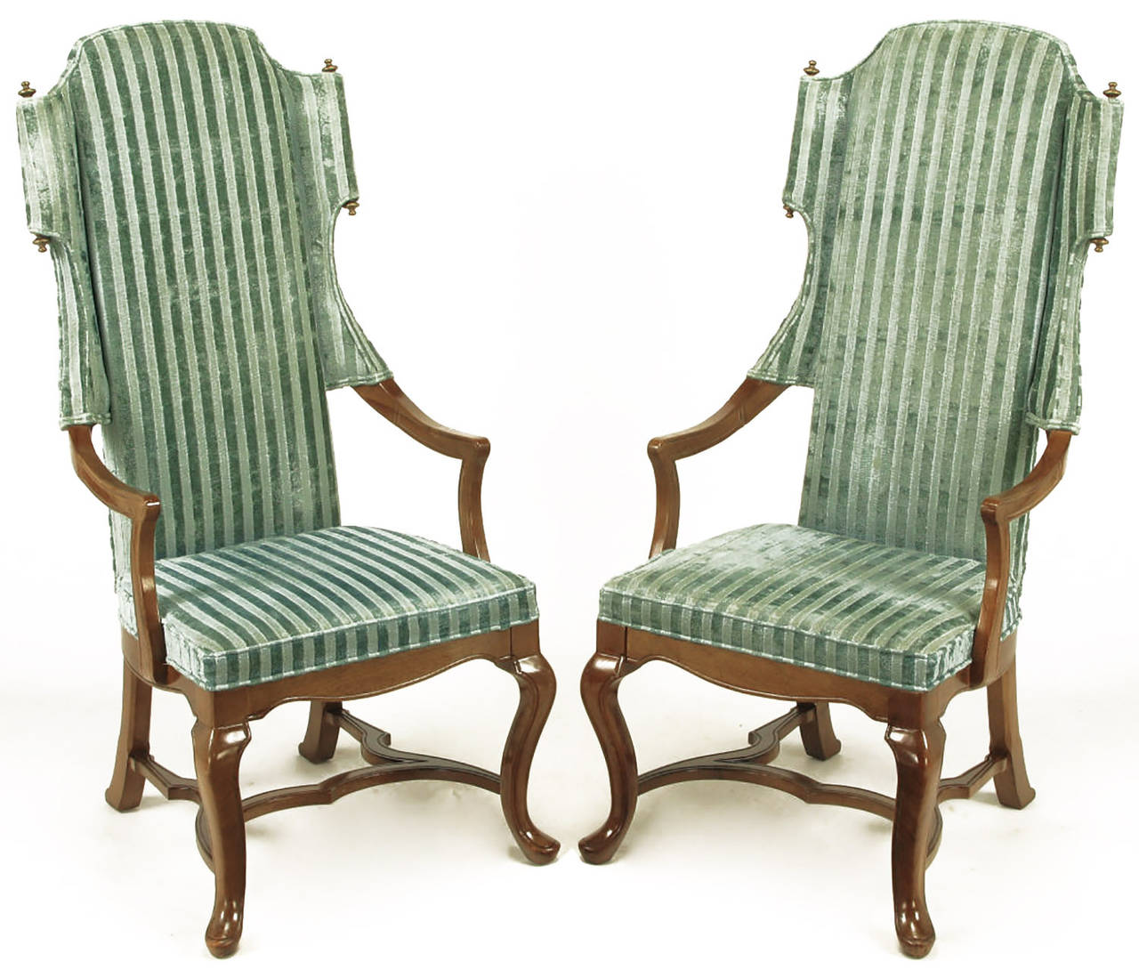 American Pair of Tall Wing Chairs in Cut Velvet with Brass Finials by Jim Peed For Sale
