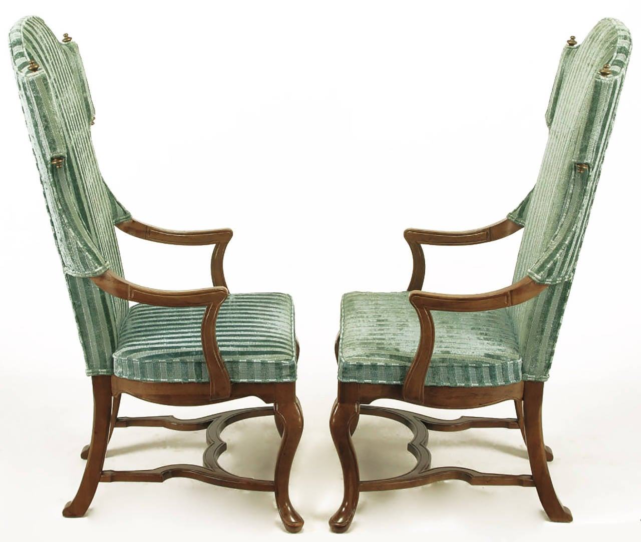 Pair of Tall Wing Chairs in Cut Velvet with Brass Finials by Jim Peed In Good Condition For Sale In Chicago, IL