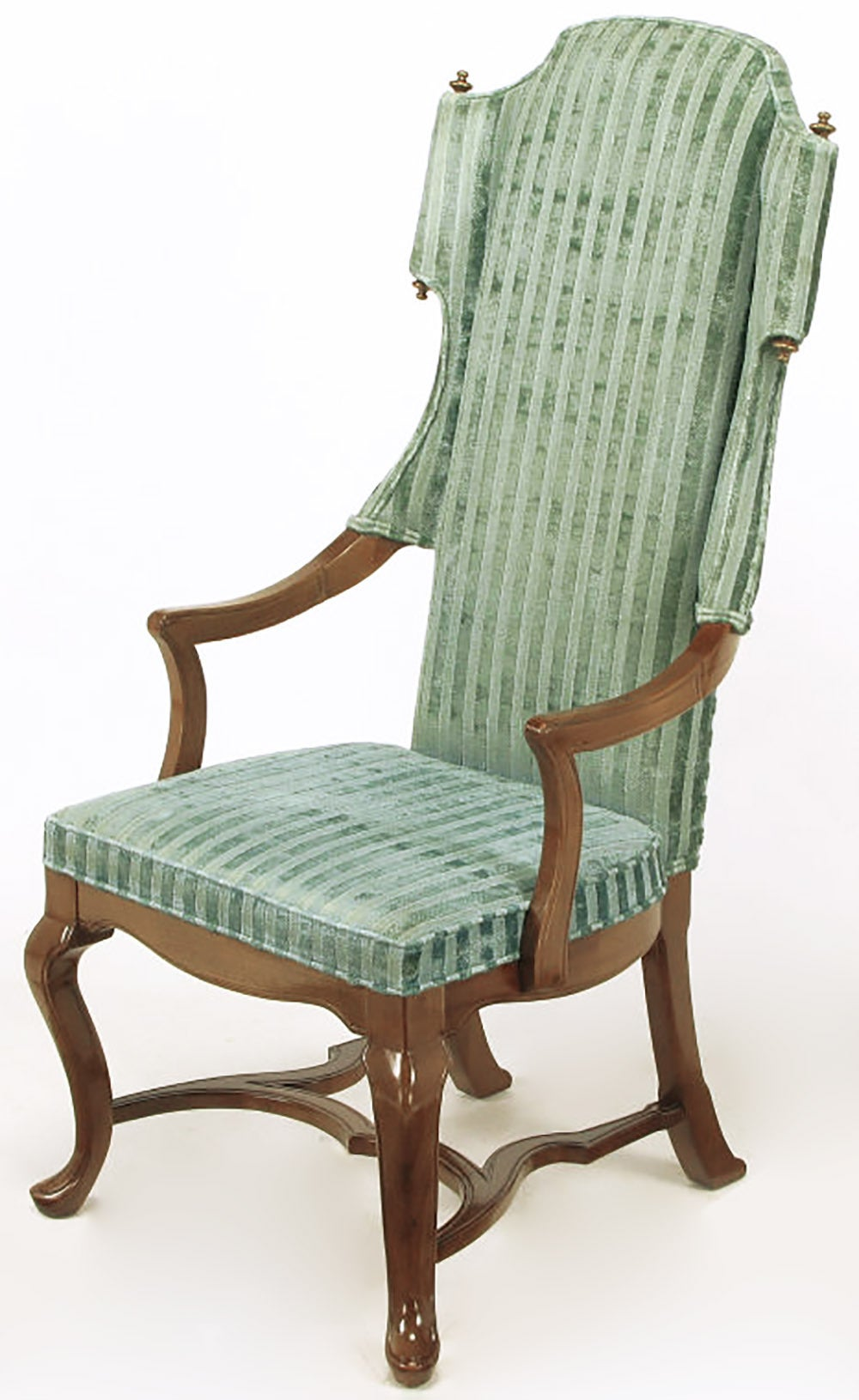 Pair of Tall Wing Chairs in Cut Velvet with Brass Finials by Jim Peed For Sale 1