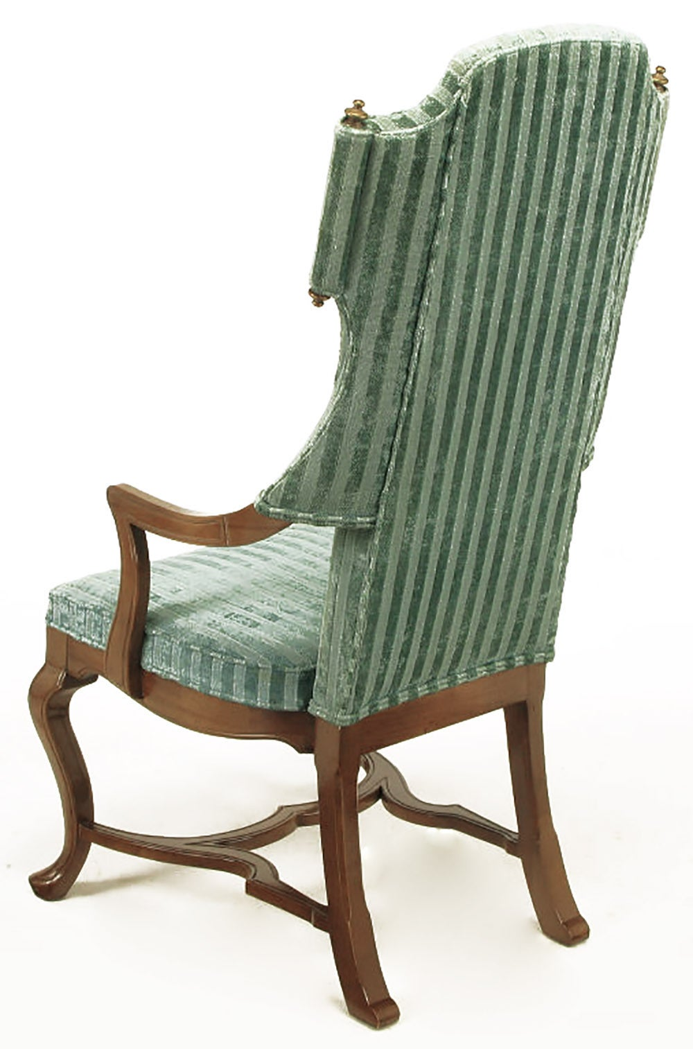Pair of Tall Wing Chairs in Cut Velvet with Brass Finials by Jim Peed For Sale 2