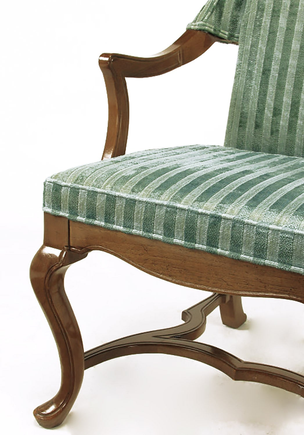 Pair of Tall Wing Chairs in Cut Velvet with Brass Finials by Jim Peed For Sale 5
