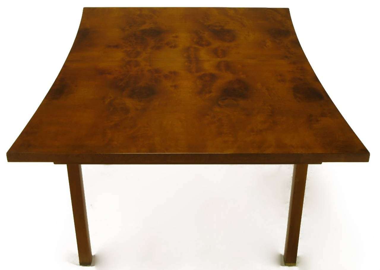 American Rare Harold M Schwartz for Romweber Burled Walnut Parabolic Form Dining Table For Sale