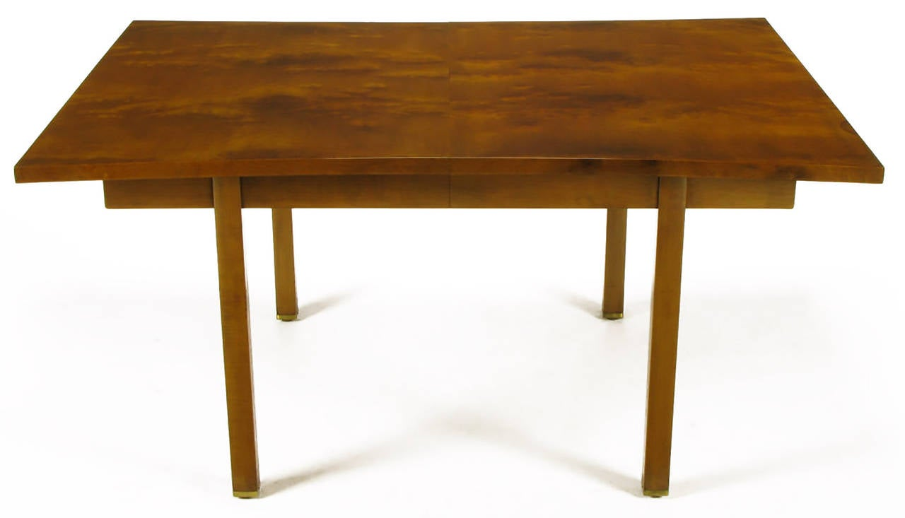 Rare concaved sides burled walnut dining table, by Harold M. Schwartz for Romweber. Clean line apron and legs with the addition of two leaves the total possible length is 96