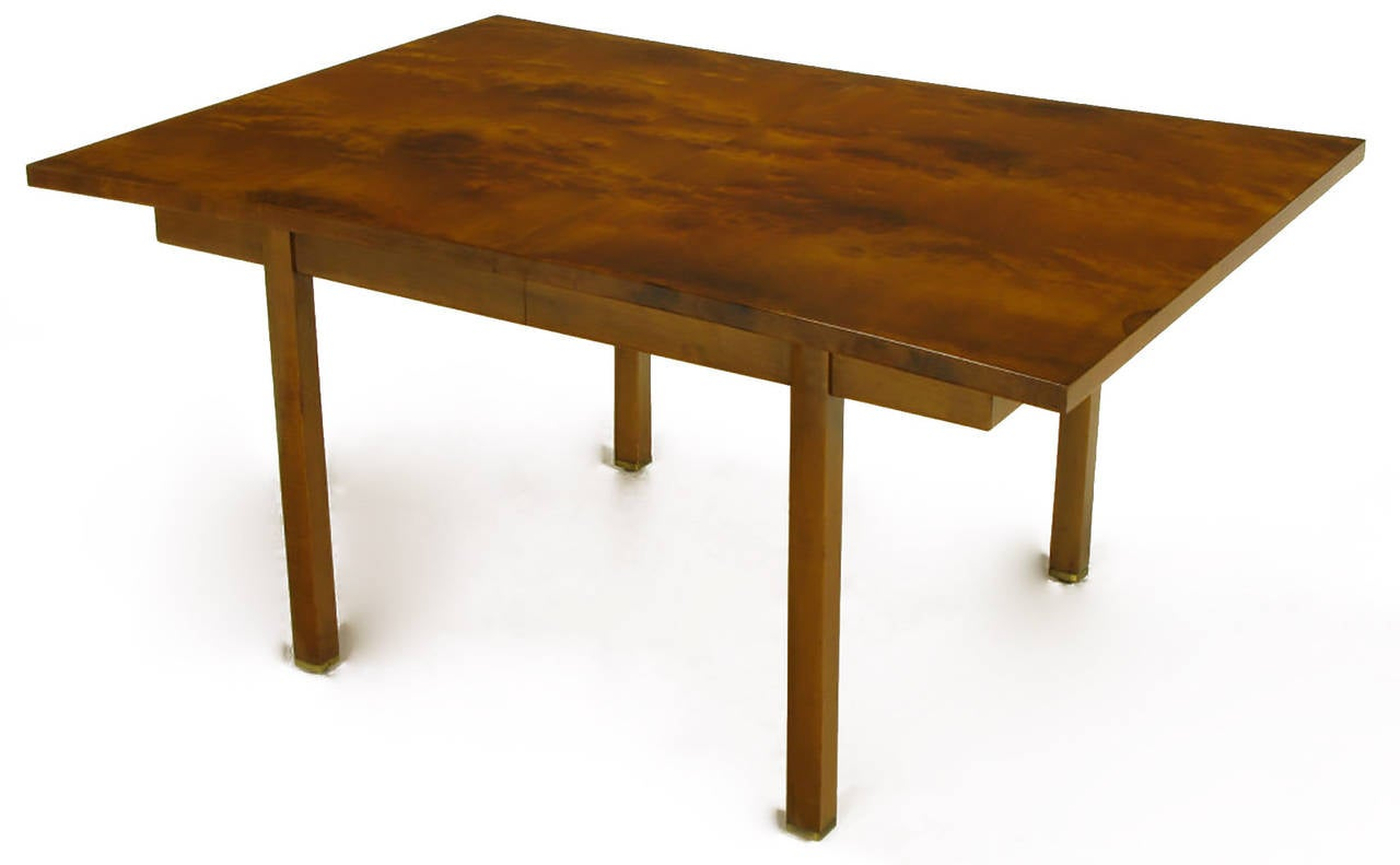 Rare Harold M Schwartz for Romweber Burled Walnut Parabolic Form Dining Table In Good Condition For Sale In Chicago, IL