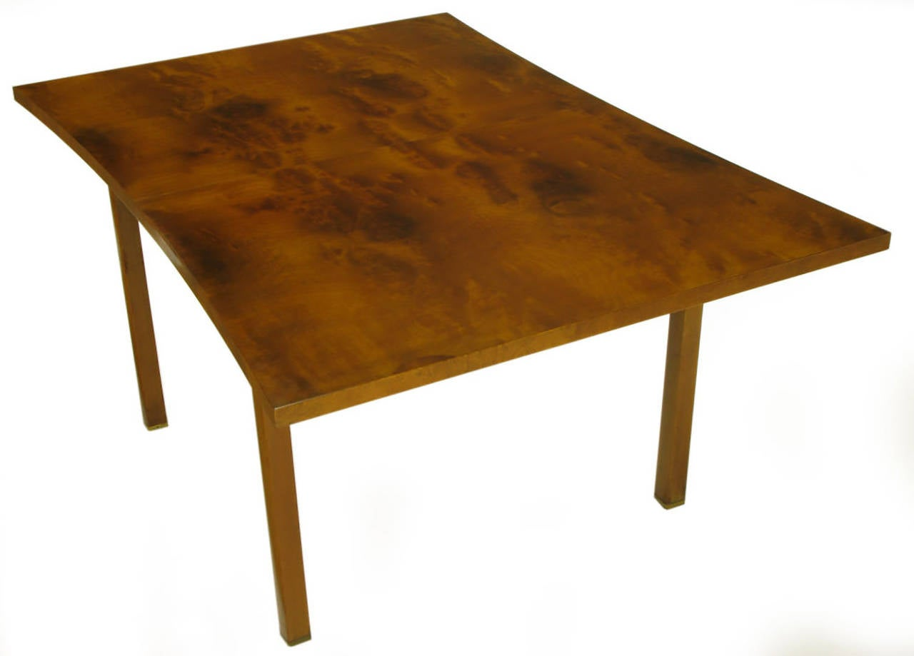Mid-20th Century Rare Harold M Schwartz for Romweber Burled Walnut Parabolic Form Dining Table For Sale