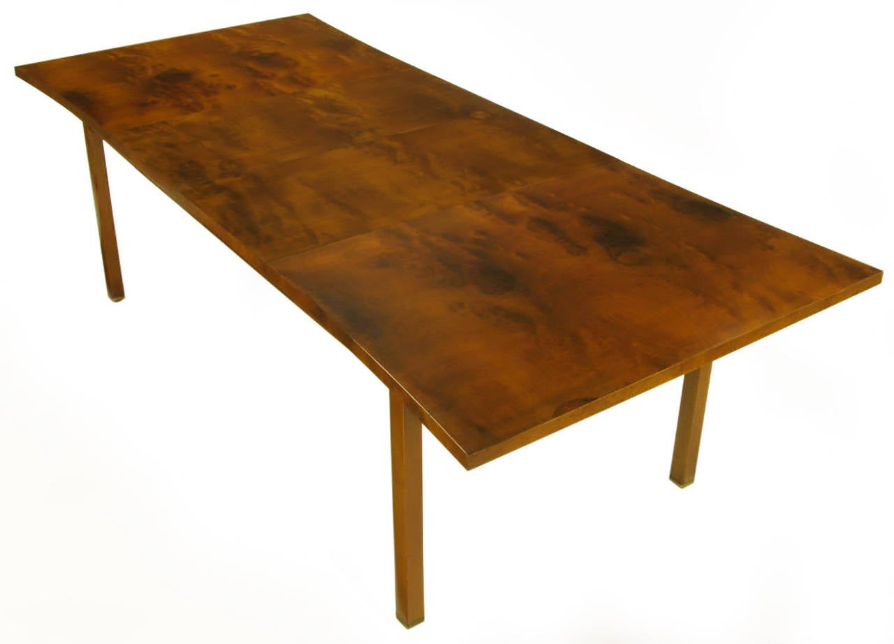 Rare Harold M Schwartz for Romweber Burled Walnut Parabolic Form Dining Table For Sale 2