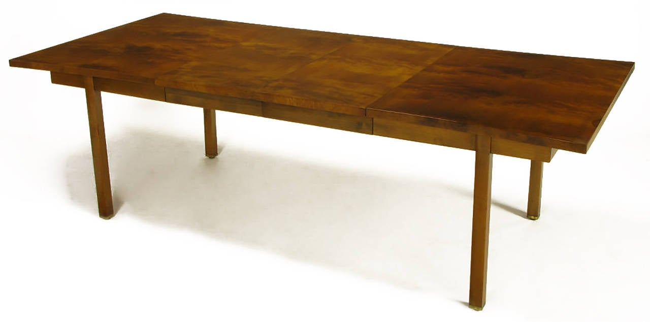 Rare Harold M Schwartz for Romweber Burled Walnut Parabolic Form Dining Table For Sale 1