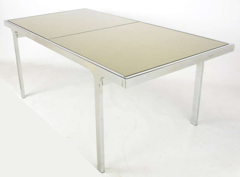 Late 20th Century Signed Pierre Cardin Chrome and Mirror Dining Table For Sale