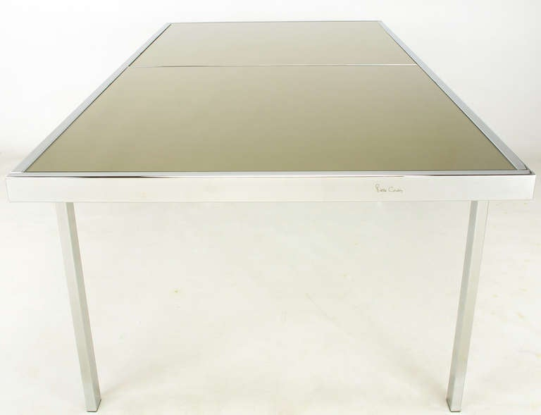 Signed Pierre Cardin Chrome and Mirror Dining Table For Sale 1