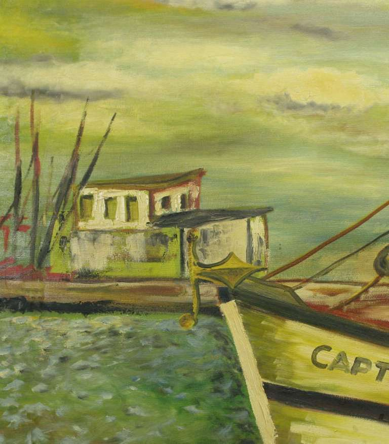Signed WPA Style Harborscape Oil On Canvas For Sale 2