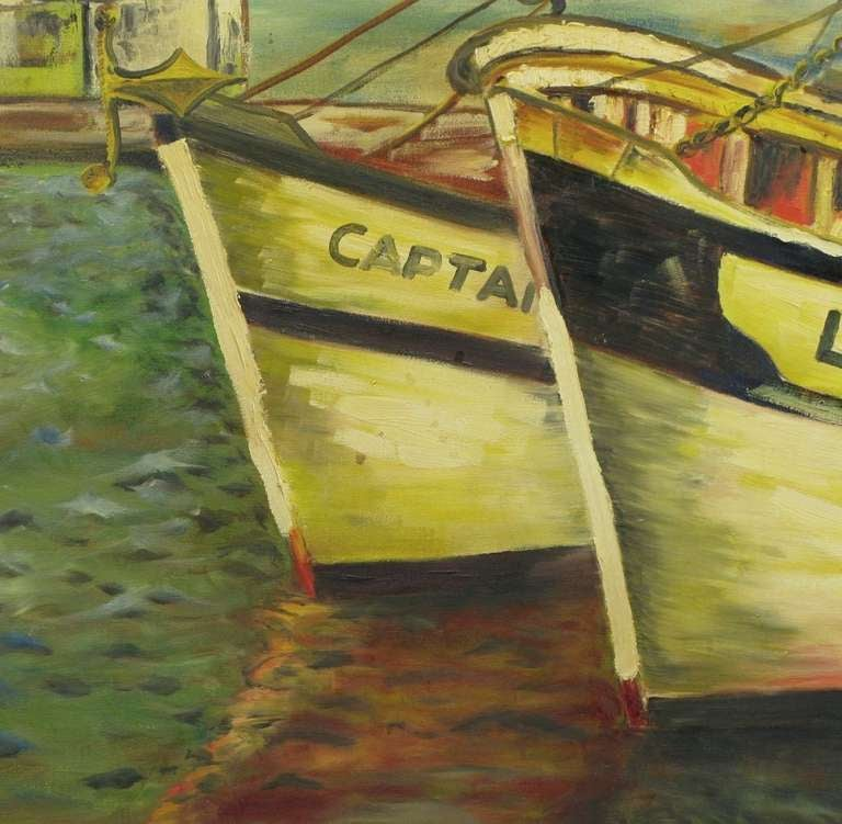 Signed WPA Style Harborscape Oil On Canvas For Sale 1