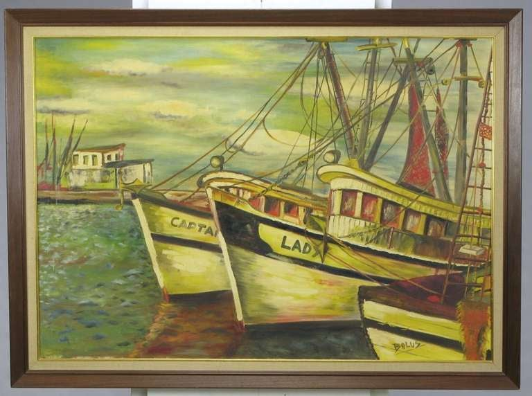 Colorful impressionistic oil on canvas painting of fishing boats in a harbor. Greens, blues and reds comprise the majority of the color pallet. Nicely framed and signed Bolus. 33