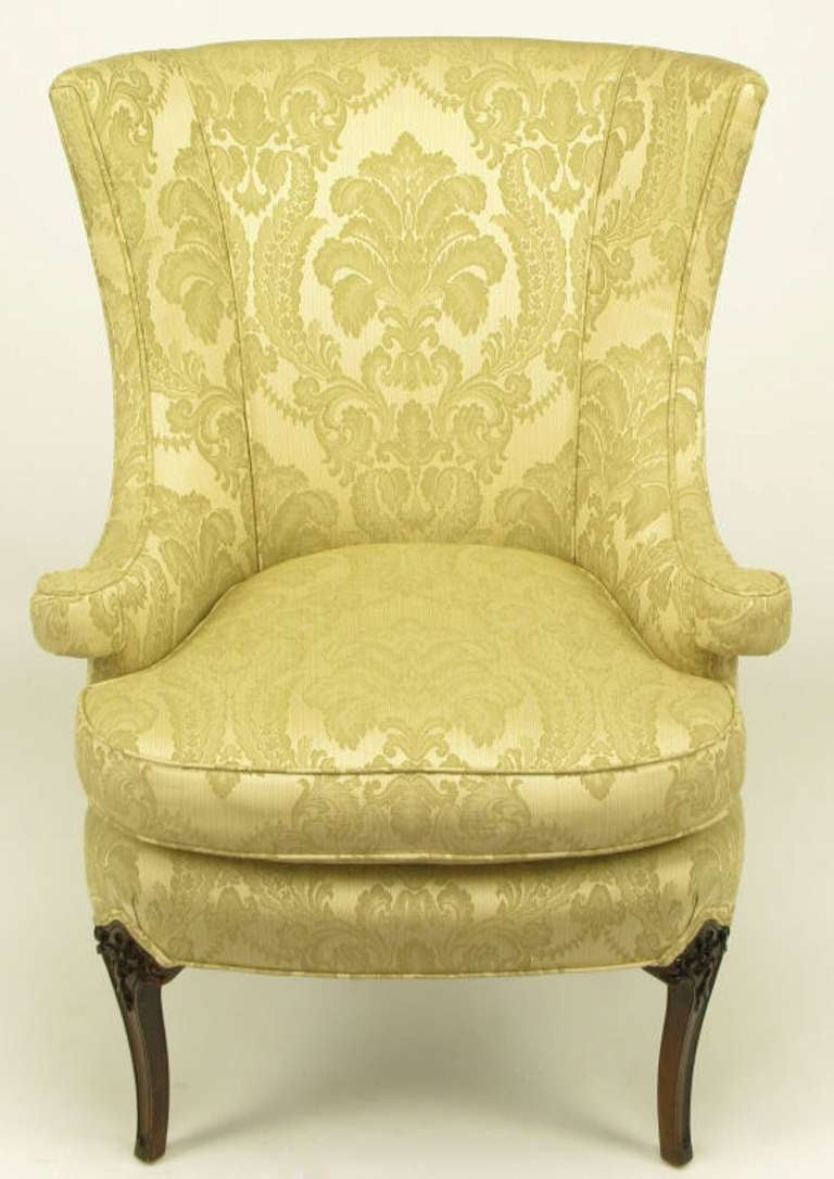 Uncommon 1940s Wingback Chair in Silk and Linen Damask Upholstery 3