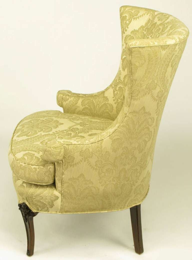 Uncommon 1940s Wingback Chair in Silk and Linen Damask Upholstery 4