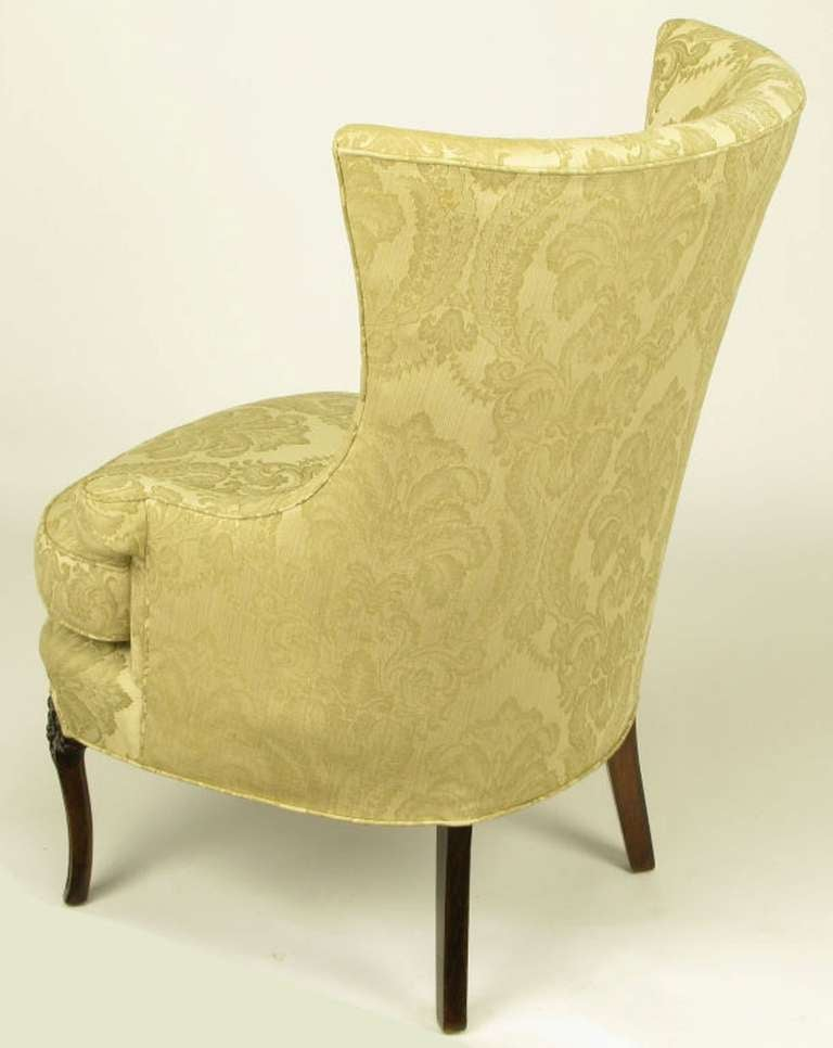 Uncommon 1940s Wingback Chair in Silk and Linen Damask Upholstery 5