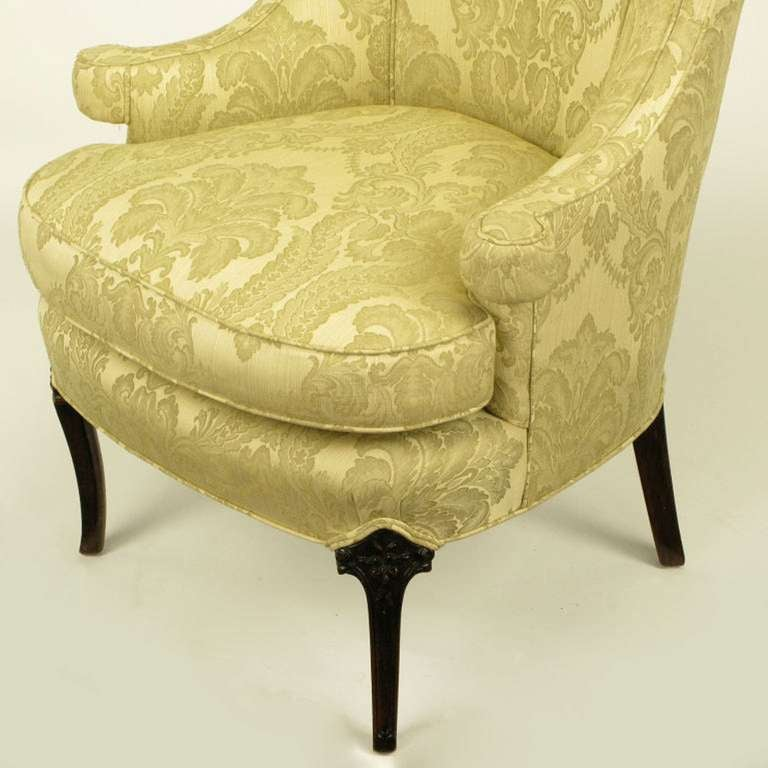 Uncommon 1940s Wingback Chair in Silk and Linen Damask Upholstery 7