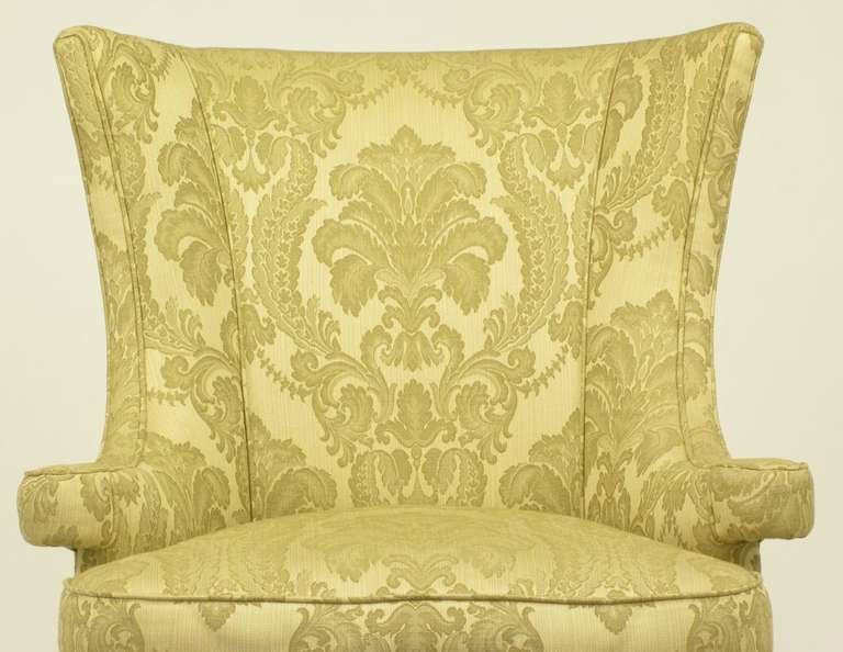 Uncommon 1940s Wingback Chair in Silk and Linen Damask Upholstery 8