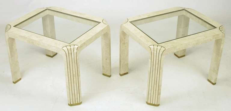 Pair of Tessellated Fossil Stone and Inlaid Brass Side Tables In Excellent Condition For Sale In Chicago, IL