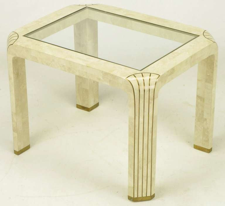 Pair of Tessellated Fossil Stone and Inlaid Brass Side Tables For Sale 1